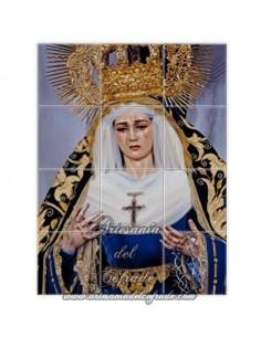 Se vende este mosaico cerámica de 12 azulejos de la Virgen de la Soledad de Sevilla. Cofradia de Servitas - Tienda Cofrade