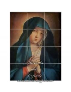 Retablo de 12 azulejos de Virgen Dolorosa con manos unidas vintage