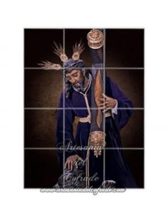 Retablo de 12 azulejos cuadrados del Santisimo Cristo de las Tres Caidas de Triana (Sevilla)