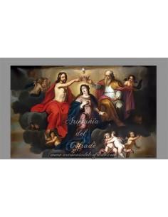 Precioso azulejo rectangular de la Coronación de la Virgen María