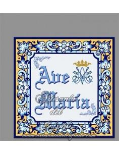 Azulejo cuadrado con el texto de Ave maría en venta en nuestra tienda online de Articulos Relgiosos