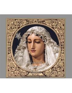 Azulejo cuadrado con la Virgen del Rocio de Malaga