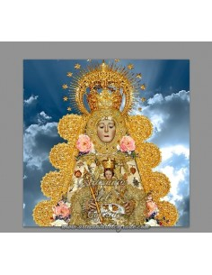 Azulejo cuadrado de la Virgen del Rocio vestida de reina