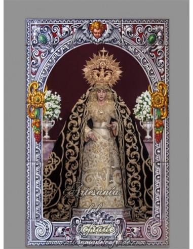 azulejo rectangular de la Virgen de los Dolores (Cofradía del Cerro del Aguila de Sevilla)