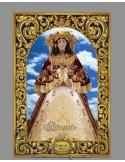 Azulejo rectangular de la Virgen del Rocio vestida de Pastora