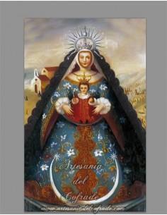 Reprodución de pintura en azulejo rectangular de la Virgen del Rocio