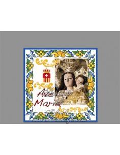 Azulejo cuadrado Ave maría con la Virgen de la Merced