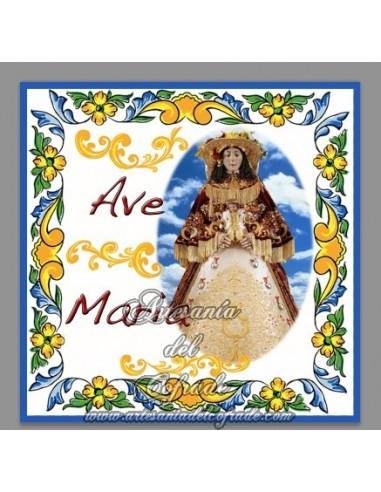 Azulejo cuadrado Ave maría con la Virgen del Rocio