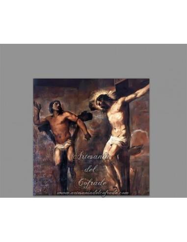 Azulejo cuadrado de Cristo y el Buen ladrón