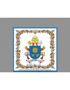 Azulejo cuadrado del escudo del Papa Francisco.