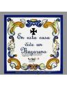 """Azulejo cuadrado """"en esta casa vive un nazareno"""""""