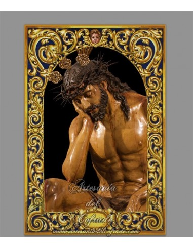 Precioso azulejo rectangular de Nuestro Padre Jesús de la Humildad de Lebrija