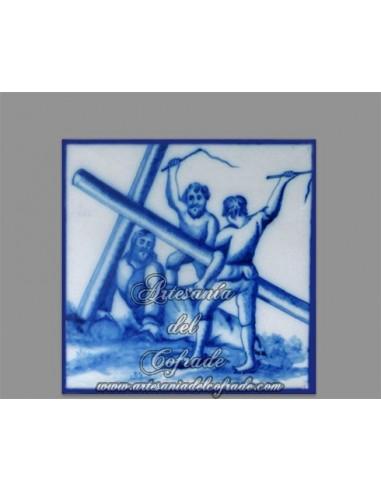 Azulejo cuadradao de Jesús caido