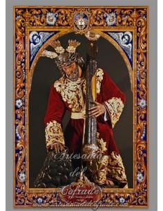 Azulejo rectangular de Nuestro Padre Jesús Nazareno de los Pasos en el Monte Calvario (Hermandad del Rocio,Málaga)