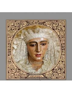 Azulejo cuadrado de la Virgen Esperanza de Triana con greca