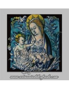 Precioso azulejo cuadrado de la virgen maria y el niño Jesús