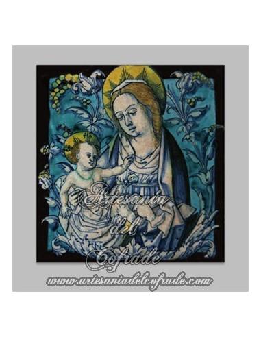 Precioso azulejo cuadrado de la virgen maria y el niño Jesús - Tienda de Articulos Religiosos