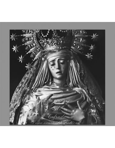 Azulejo cuadrado con reprodución de fotografía antigua de la Virgen de la Estrella de Sevilla