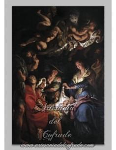 Azulejo rectangular de la adoración de los pastores.