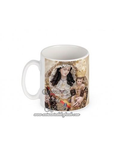 Taza con fotografia de la virgen del Carmen de Cádiz