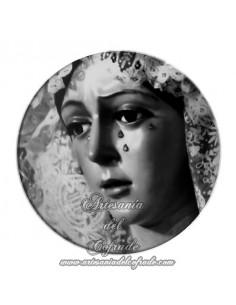 Imán redondo plastico de la virgen de la Esperanza Macarena