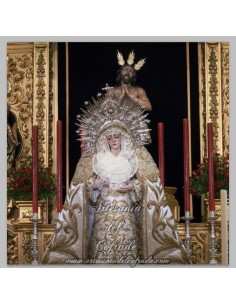 Azulejo cuadrado de los titulares de la Cofradía de la Estrella de Sevilla