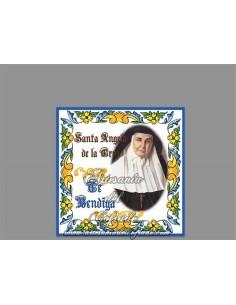 Azulejo cuadrado de santa angela de la cruz te bendiga