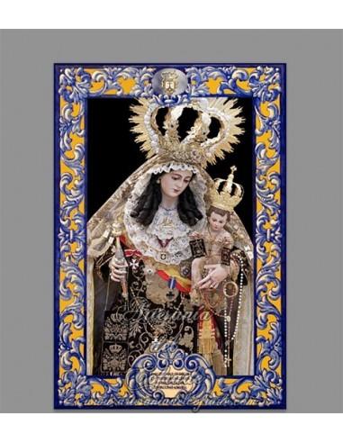 Azulejo rectangular de la Virgen del Carmen de Cádiz con lema