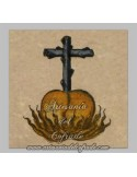 Azulejo cuadrado corazón y cruz