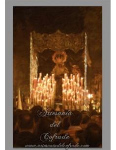 Reprodución de pintura en azulejo rectangular de la Virgen de la Amargura de Sevilla.