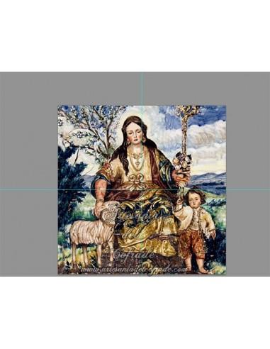 Retablo de 4 azulejos de la Divina Pastora de Cantillana