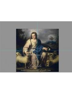 Retablo de 4 azulejos de la Divina Pastora