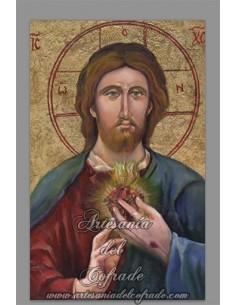 Preciosa reprodución en azulejo rectangular del Sagrado Corazón de Jesús.