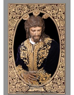 Azulejo rectangular con greca del Cristo de San Gonzalo de Sevilla