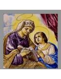Azulejo cuadrado de Santa Ana y la Virgen Maria