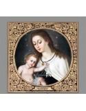 Azulejo cuadrado de la Virgen del Carmen con greca