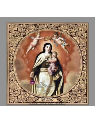 Bonito azulejo cuadrado de la Virgen del Carmen con greca