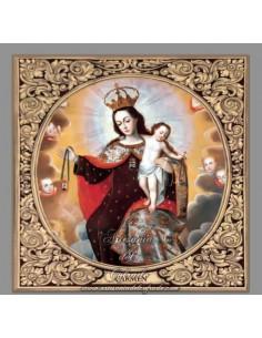 Azulejo con greca cuadrado de la Virgen del Carmen