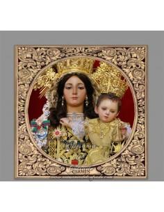 Azulejo con greca cuadrado de la Virgen del Carmen Málaga