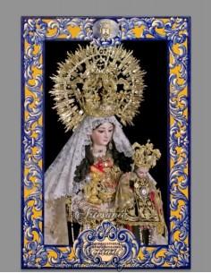Azulejo rectangular de la Virgen del Carmen de Cordoba con lema
