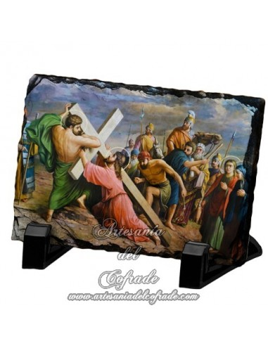 Pizarra rectangular de la escena de Jesús Caido.