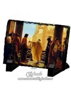 Pizarra rectangular de Jesús presentado al pueblo.