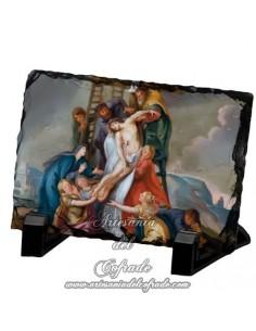 Reproducción en Pizarra rectangular con escena del descendimiento de Cristo.