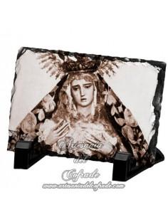 Pizarra rectangular con foto antigua de la virgen de la Hiniesta de Sevilla