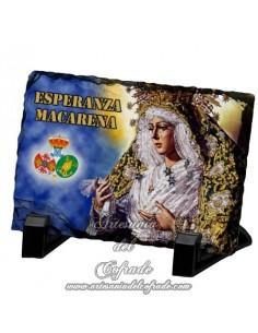 Pizarra rectangular con la virgen de la Esperanza Macarena de Sevilla