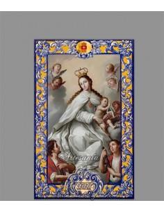 Bonito azulejo rectangular de la Virgen de la Merced con lema