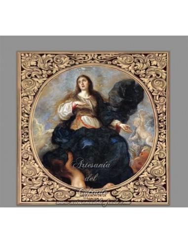 Azulejo cuadrado de la Ascensión de la VIrgen Maria