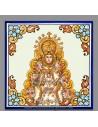 Bonito azulejo cuadrado con greca de la Virgen del Rocio