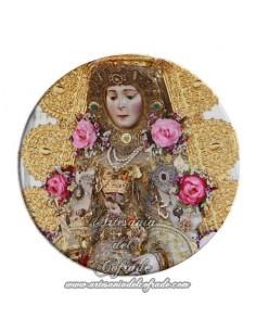 Imán redondo plastico de la Virgen del Rocio (Patrona de Almonte)