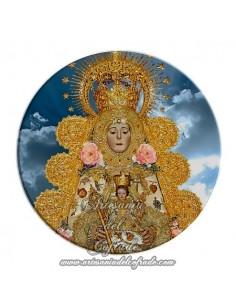 Imán redondo plastico de la Virgen del Rocio con cielo (Patrona de Almonte)